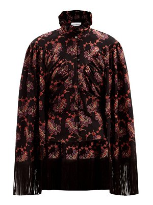 Paco Rabanne cape-back fringed paisley-embroidered twill top