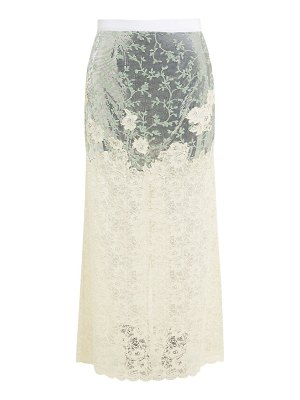 Paco Rabanne chainmail and chantilly-lace maxi skirt