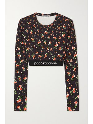 Paco Rabanne cropped jacquard-trimmed floral-print stretch-jersey top