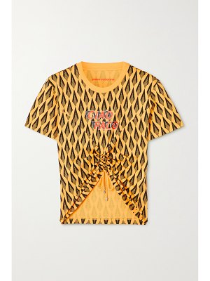 Paco Rabanne cropped ruched printed cotton-jersey t-shirt