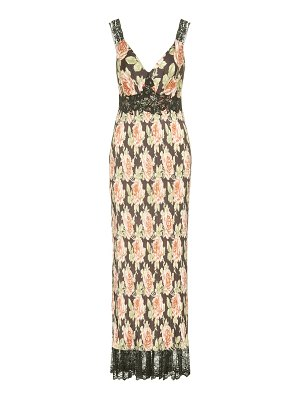 Paco Rabanne floral and lace maxi dress