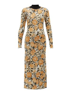 Paco Rabanne floral-jacquard lurex and jersey maxi dress
