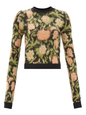Paco Rabanne floral-jacquard mohair-blend sweater