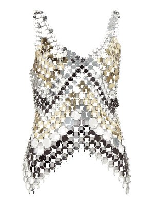 Paco Rabanne floral-print chainmail and satin top