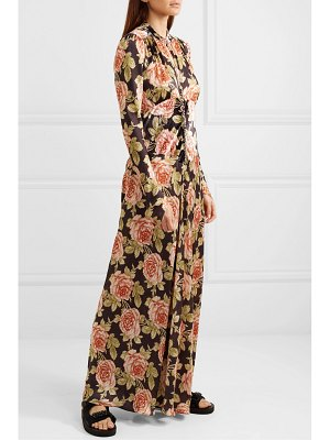 Paco Rabanne floral-print velvet and satin maxi dress