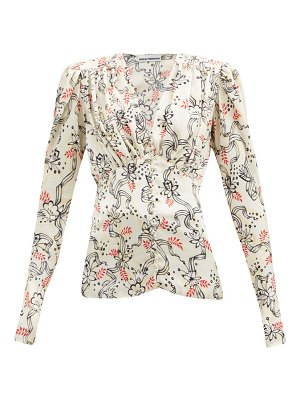 Paco Rabanne gathered ribbon and floral-print satin top