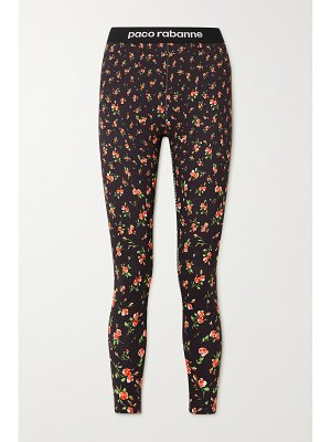 Paco Rabanne jacquard-trimmed floral-print stretch-jersey leggings