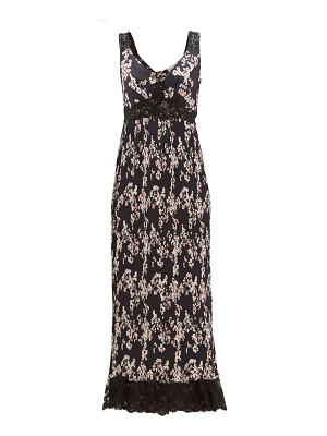Paco Rabanne lace-trimmed floral-print pleated satin dress