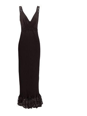 Paco Rabanne lace-trimmed pleated satin dress