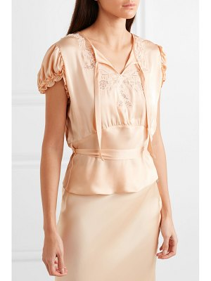 Paco Rabanne lace-trimmed satin blouse