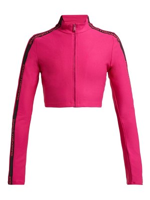 Paco Rabanne logo technical stretch jersey cropped jacket