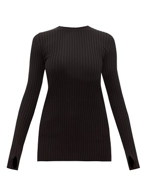 Paco Rabanne long-sleeved ribbed cotton-blend top