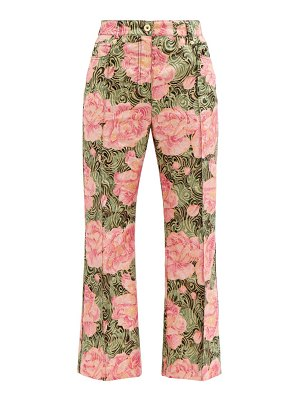 Paco Rabanne peony-print swirl-jacquard cropped trousers