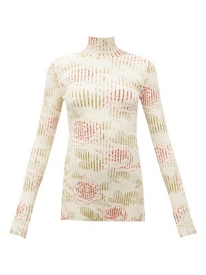 Paco Rabanne rose-print ribbed cotton-blend top