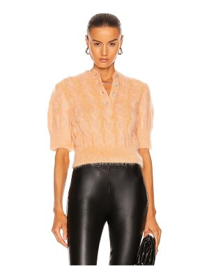 Paco Rabanne short sleeve cable knit sweater