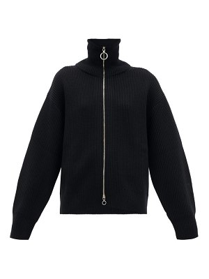 Paco Rabanne two-way zip ribbed wool sweater