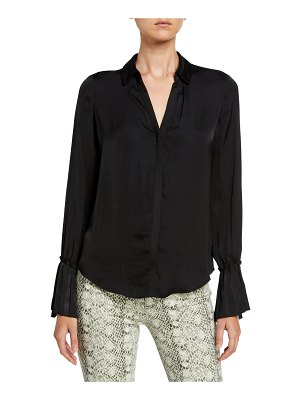 PAIGE Abriana Long-Sleeve Satin Blouse