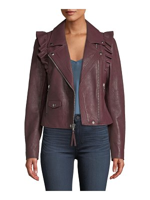 PAIGE Annika Zip-Front Ruffled-Trim Lamb Leather Moto Jacket