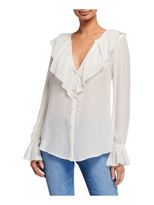 PAIGE Caprina Ruffle Long-Sleeve Button-Down Blouse