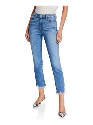 PAIGE Cindy Cropped Straight Jeans with Shredded Hem