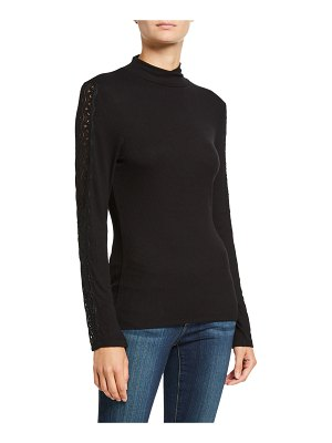 PAIGE Denver Lace-Trim Turtleneck Top