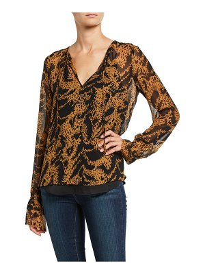PAIGE Jojie Printed Long-Sleeve Tie-Front Blouse