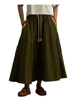 Palm Angels Exodus Military Cargo Skirt with Stripes