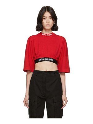 Palm Angels red cropped logo over t-shirt
