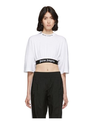 Palm Angels white cropped logo over t-shirt