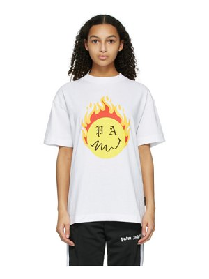 Palm Angels white smiley edition burning head logo t-shirt
