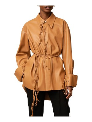 PALMER/HARDING I Love You Vegan Leather Shirt with Grommets