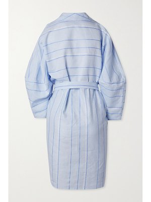 PALMER/HARDING palmer//harding - belted striped cotton and linen-blend mini dress