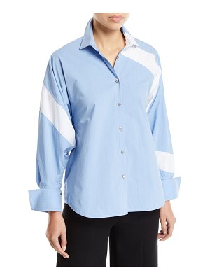PALMER/HARDING Solo Striped Cotton Paneled Button-Front Shirt