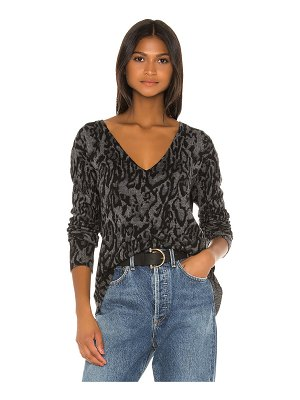 Pam & Gela ocelot v neck sweater