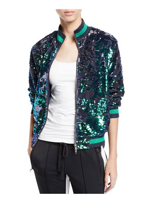 Pam & Gela Sequin Velour Zip-Front Track Jacket