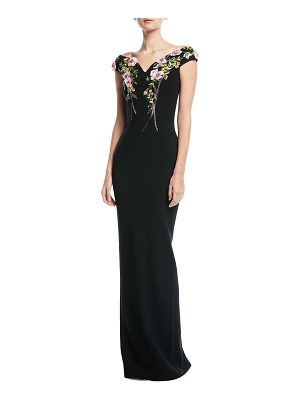 Pamella Roland Bateau-Neck Stretch-Crepe Evening Gown with Crystal Floral-Embroidery