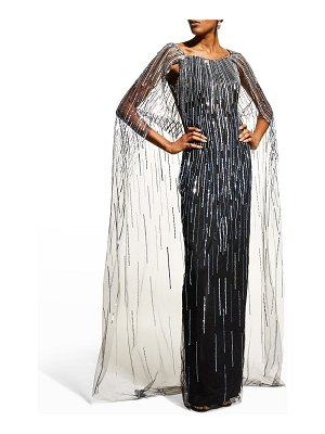 Pamella Roland Beaded Cape Gown