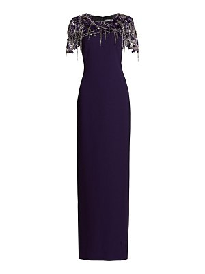 Pamella Roland draped fringe stretch crepe gown