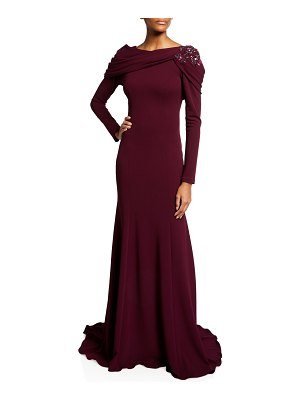 Pamella Roland Draped Stretch-Crepe Gown w/ Floral Crystal Embroidery