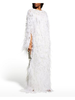Pamella Roland Embroidered Feather Cape Gown