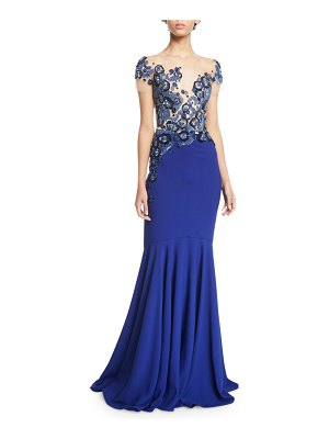 Pamella Roland Floral-Embroidered Illusion Mermaid Gown