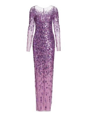 Pamella Roland floral sequin tulle gown