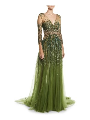 Pamella Roland Long-Sleeve Sequined Illusion Gown