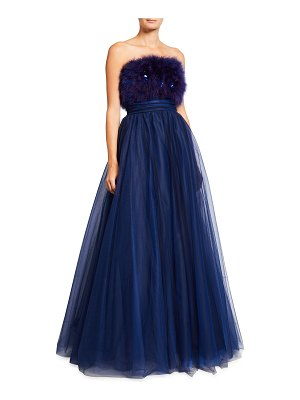 Pamella Roland Marabou Feather Embellished Tulle Gown