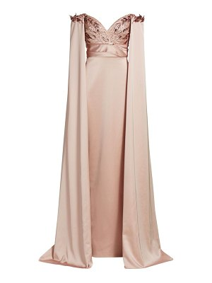Pamella Roland off-the-shoulder embellished cape gown