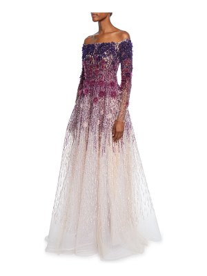Pamella Roland Off-the-Shoulder Floral Sequined Ombre Gown