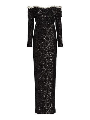Pamella Roland off-the-shoulder pearl & crystal sequin gown