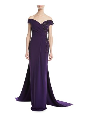 Pamella Roland Off-the-Shoulder Stretch-Crepe Evening Gown w/ Crystal-Beading