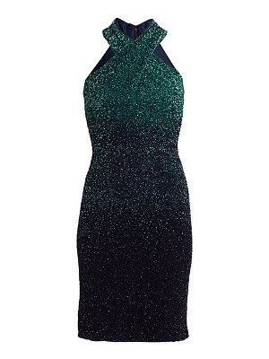 Pamella Roland ombré sequin halter mini dress