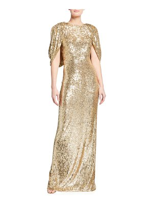 Pamella Roland Sequin Backless Cape Gown
